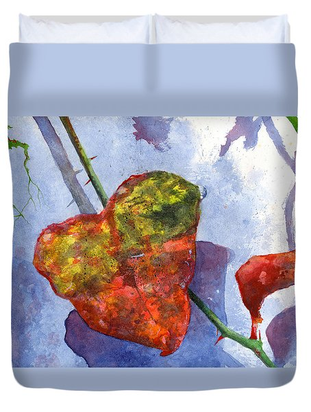 Duvet Cover featuring the painting Snow Leaf by Andrew King