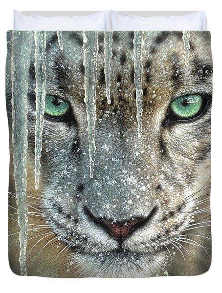 Snow Leopard - Blue Ice Duvet Cover