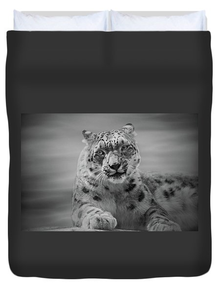 Duvet Cover featuring the photograph Snow Leopard  Bw by Sandy Keeton