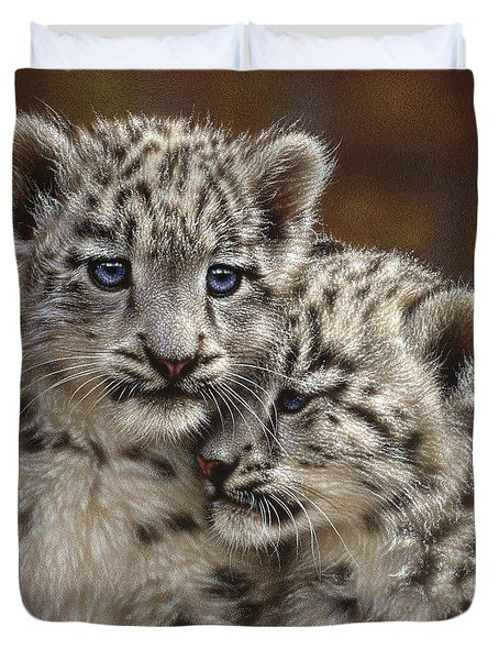 Snow Leopard Cubs - Playmates Duvet Cover
