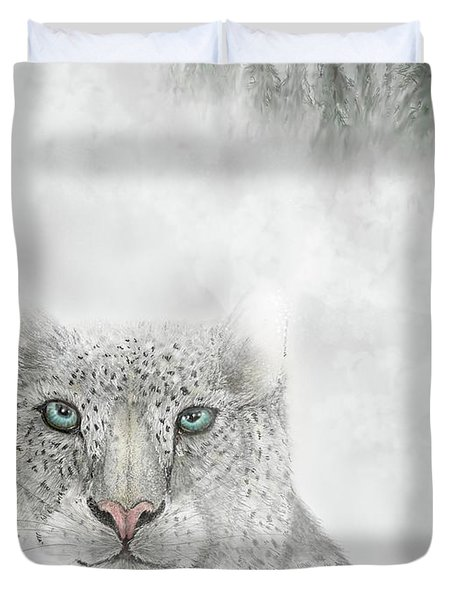 Duvet Cover featuring the digital art Snow Leopard by Darren Cannell