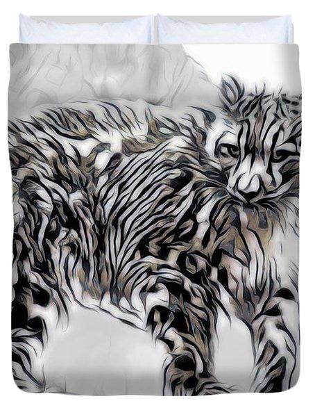 Duvet Cover featuring the digital art Snow Leopard by Pennie McCracken