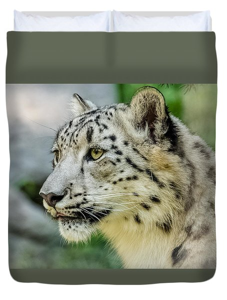 Snow Leopard Portrait Duvet Cover by Yeates Photography