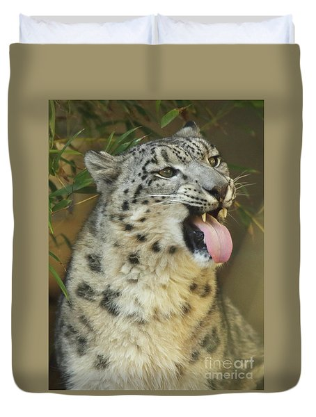 Snow Leopard Showing Tongue Duvet Cover