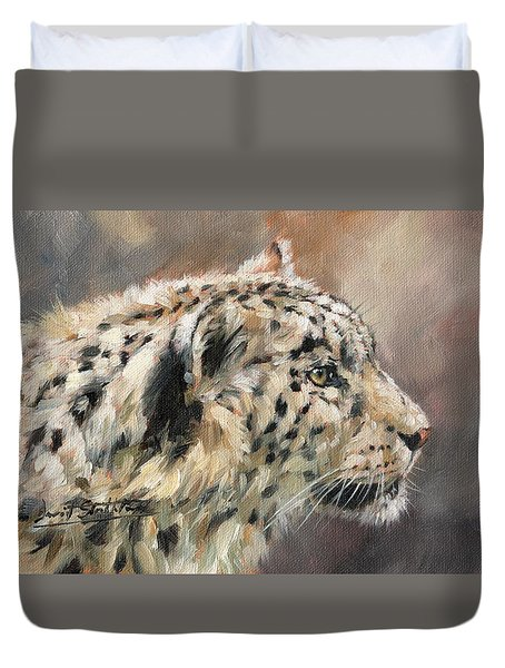 Duvet Cover featuring the painting Snow Leopard Study by David Stribbling