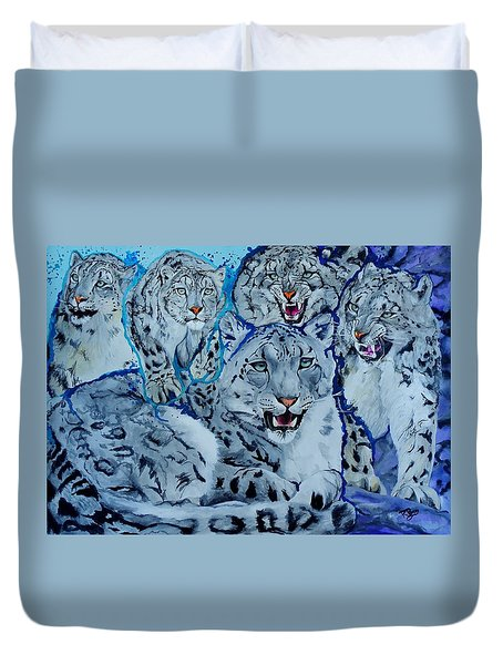 Snow Leopards Duvet Cover by Raymond Perez