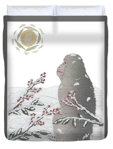 Snow Monkey And Sunrise  Duvet Cover by Keiko Suzuki
