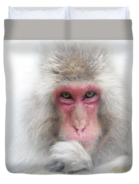 Duvet Cover featuring the photograph Snow Monkey Consideration by Rikk Flohr