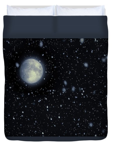 Duvet Cover featuring the photograph Snow Moon February 2017 by Terry DeLuco
