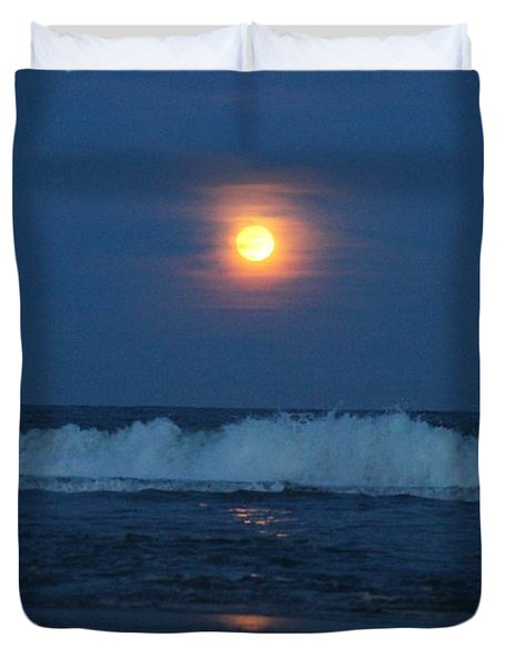 Snow Moon Ocean Waves Duvet Cover
