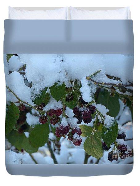 Snow On Blackberries Duvet Cover
