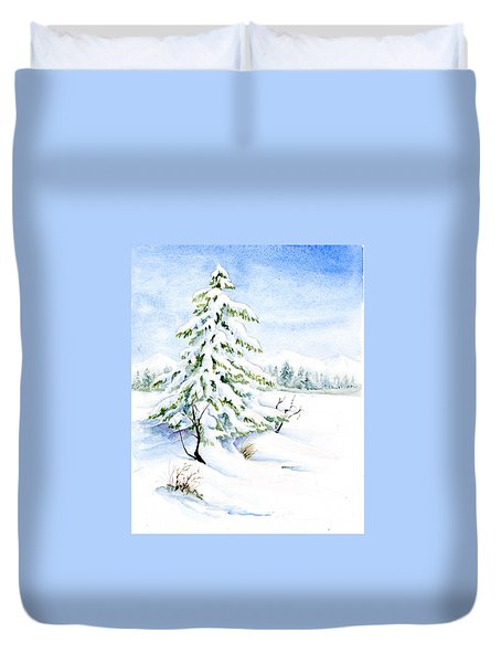 Snow On Evergreens Duvet Cover