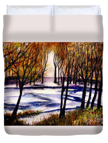 Snow On Lower Pasture Tonight Duvet Cover