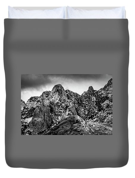 Duvet Cover featuring the photograph Snow On Peaks 46 by Mark Myhaver