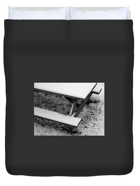 Snow On Picnic Table Duvet Cover