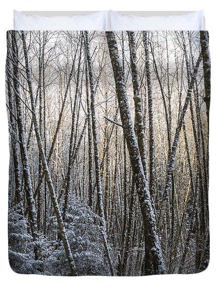 Snow On The Alders Duvet Cover