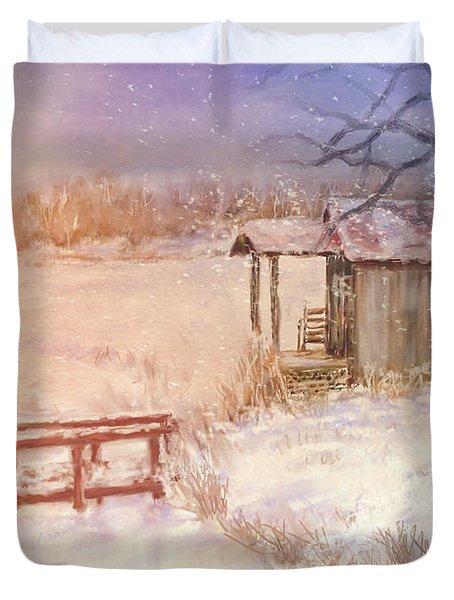 Snow On The Fishing Pond Duvet Cover
