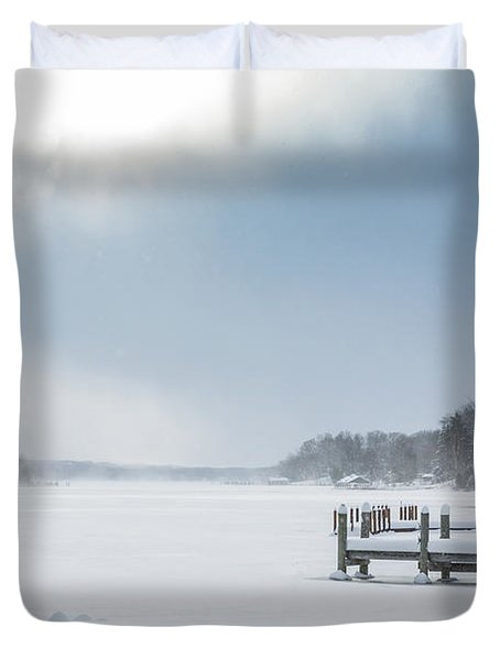 Snow On The Lake Duvet Cover