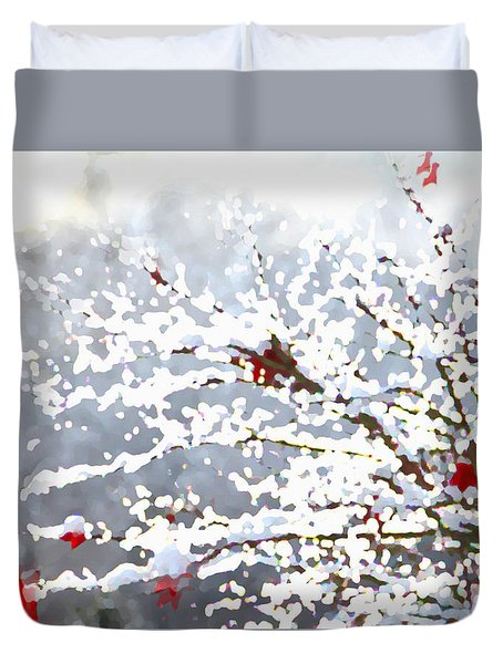 Duvet Cover featuring the digital art Snow On The Maple by Shelli Fitzpatrick