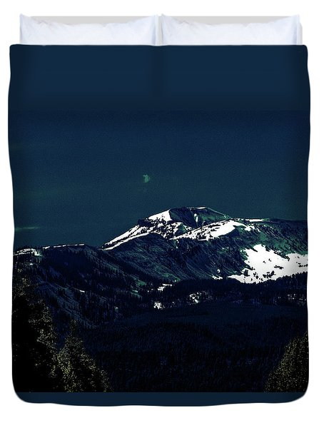 Snow On The Mountain At Night Duvet Cover
