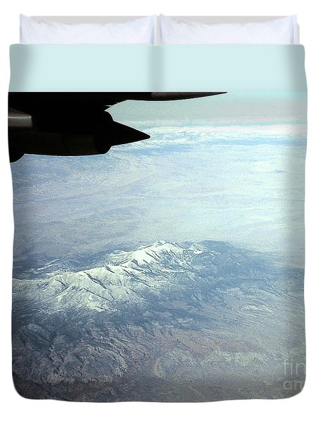 Snow On The Mountains Flying To Alaska Duvet Cover
