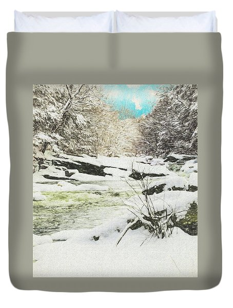 Snow On The Natchaug Duvet Cover