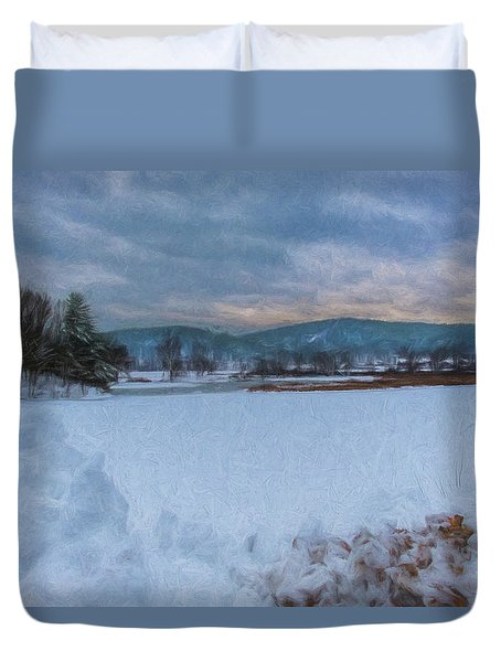 Snow On The West River Duvet Cover