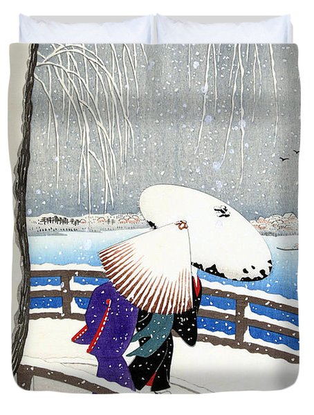Snow On Willow Bridge By Koson Duvet Cover