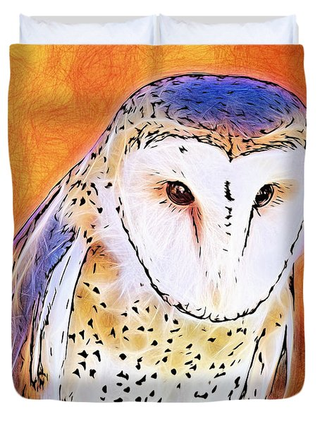 Duvet Cover featuring the digital art White Face Barn Owl by Tracie Kaska
