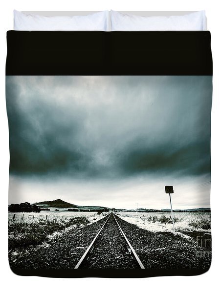 Duvet Cover featuring the photograph Snow Railway by Jorgo Photography - Wall Art Gallery