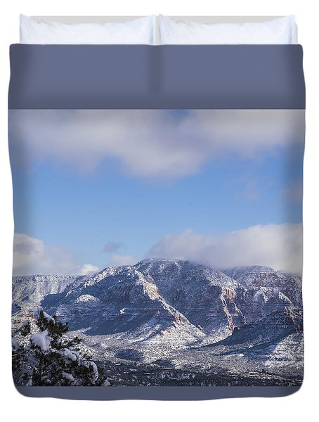 Snow Rim Duvet Cover by Laura Pratt