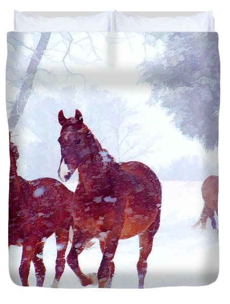 Snow Run Duvet Cover
