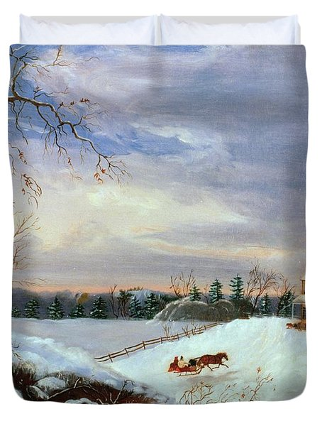 Snow Scene In New England Duvet Cover by American School