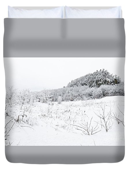 Duvet Cover featuring the photograph Snow Scene by Larry Ricker
