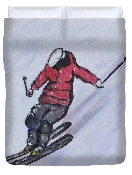 Snow Ski Fun Duvet Cover