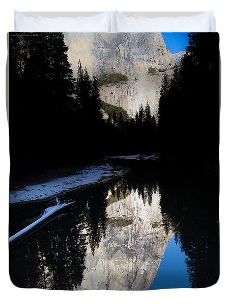 Duvet Cover featuring the photograph Snow Sneaks In by Lora Lee Chapman
