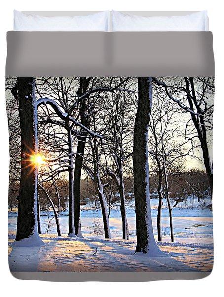 Snow Starred Grove Duvet Cover