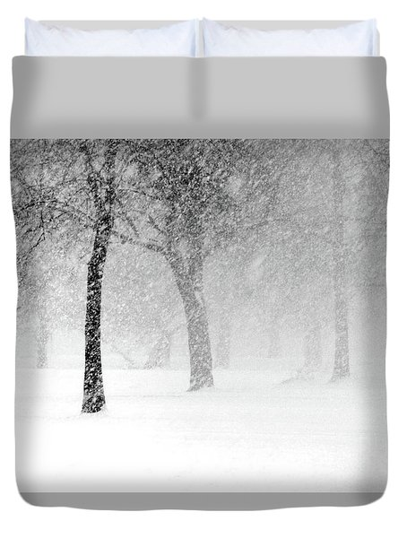 Snow Storm At Starved Rock Duvet Cover