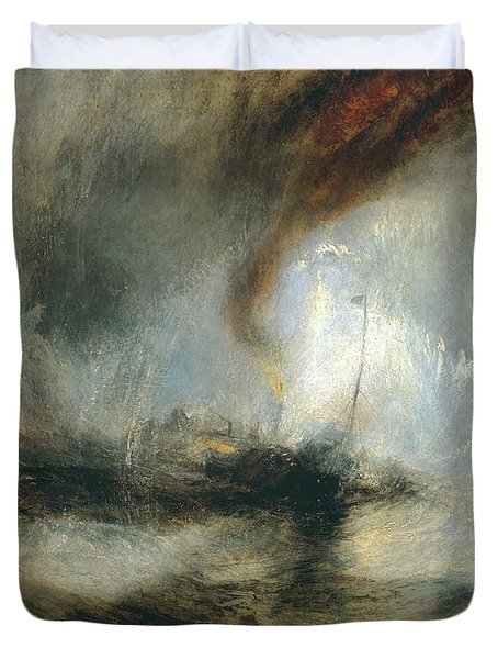 Duvet Cover featuring the painting Snow Storm by Joseph Mallord William Turner