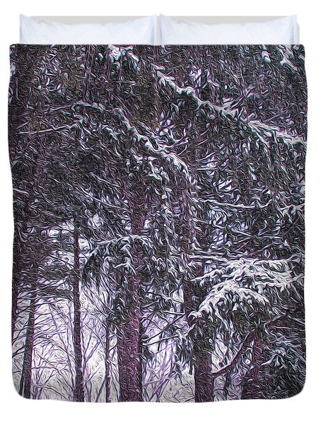 Snow Storm On Pines Duvet Cover by Sandy Moulder