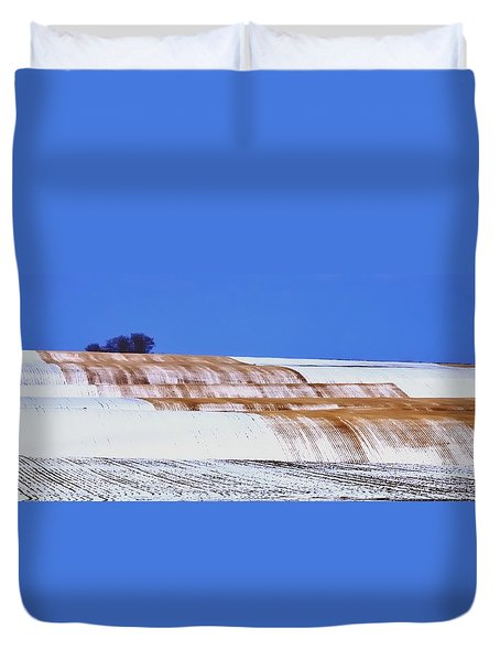 Snow Stubble Tree Line 13955 Duvet Cover