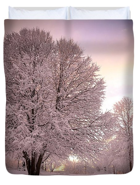 Snow Tree At Dusk Duvet Cover