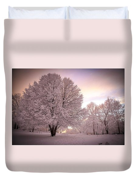 Snow Tree At Dusk Duvet Cover