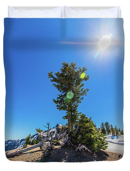 Duvet Cover featuring the photograph Snow Tree by Jonny D