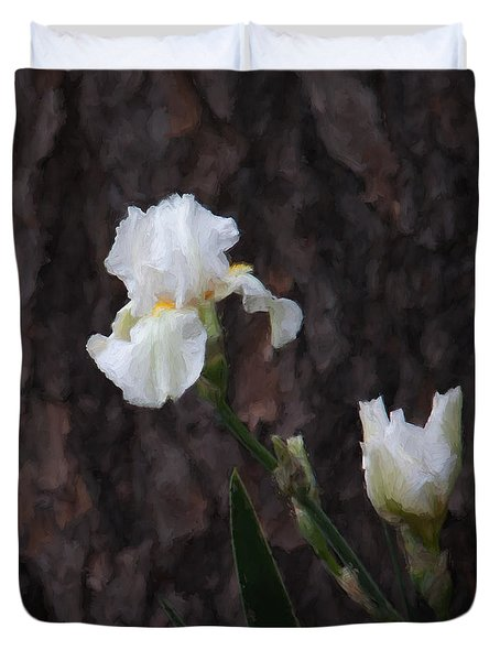 Snow White Iris On Pine Duvet Cover