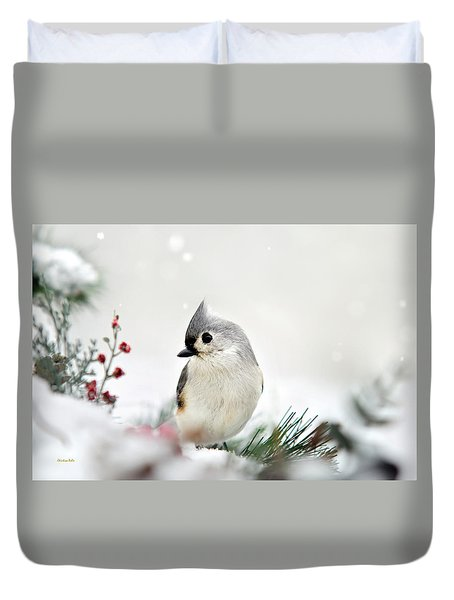 Duvet Cover featuring the photograph Snow White Tufted Titmouse by Christina Rollo