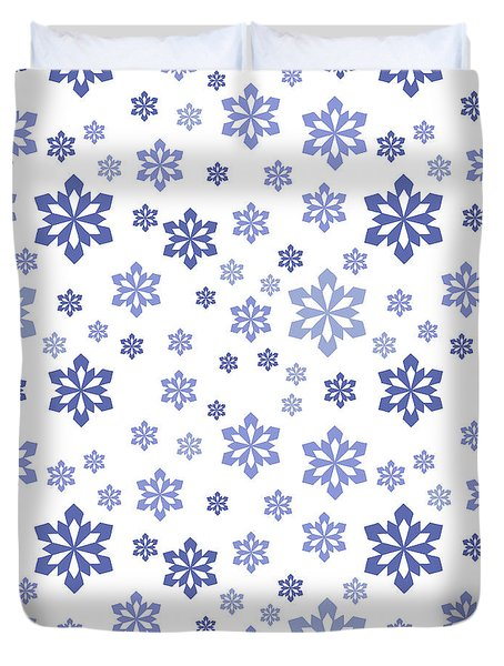 Snow White With Blue Snowflake Pattern Duvet Cover