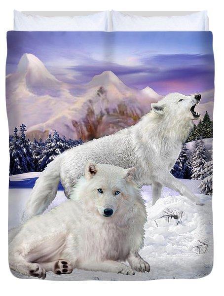 Snow Wolves Of The Wild Duvet Cover by Glenn Holbrook