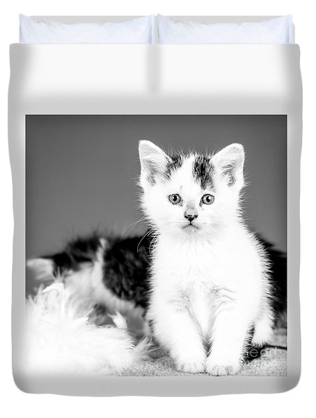 Snowball Bw Duvet Cover by Lawrence Burry