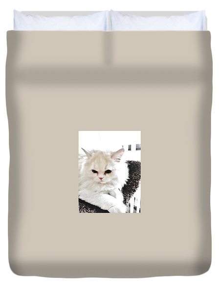 Duvet Cover featuring the photograph Snowball Is 92 Year Old Widows Cat by Marsha Heiken